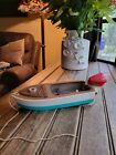 Vintage+Wooden+Toy+Boat+With+Lang+Craft+Outboard+Motor+Japan+%2F+Not+Tested+%2FParts