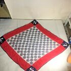 Vtg  Patriotic Red White & Blue COMPASS Nautical GLENTEX Hand Rolled Scarf JAPAN