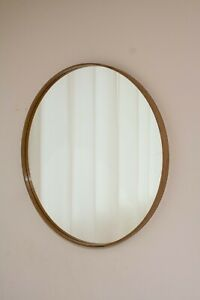 Natural wood veneer thin round wall mirror teak veneer diamete 23,5in home decor