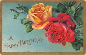 1909 Birthday Postcard of Beautiful Yellow & Red Roses - No. 402