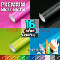 【Gloss Glitter】 Metallic Sparkle Vinyl Wrap Sticker Film Bubble Free Film Sheet