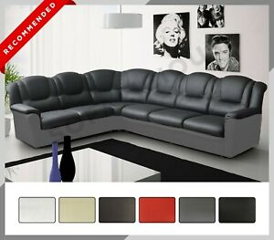 LARGE TEXAS Corner Sofa Faux Leather Right or Left Two colours black grey brown