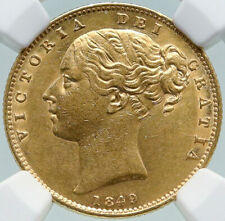 1849 GREAT BRITAIN Antique OLD UK Queen Victoria Gold Sovereign Coin NGC i87385