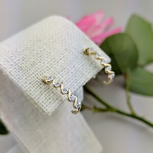 9K Yellow Gold Infinity 10pcs Natural Diamond Half Hoop Earrings (made-by-order)
