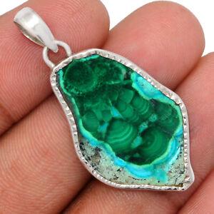 Malachite In Cyhrysocolla Slice 925 Sterling Silver Pendant Jewelry BP97204
