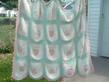 Vintage Hand Crocheted White Pink Rose Afghan Blanket Bedspread Throw