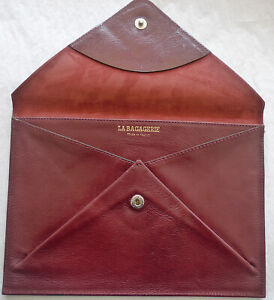 """SALE La Bagagerie Maroon Burgundy Leather Envelope Clutch Made In France 6"""" x 9"""""""