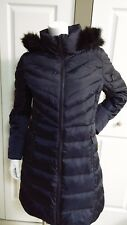 NEW MICHAEL KORS NAVY QUILTED & PUFF LONG DOWN COAT SIZE M