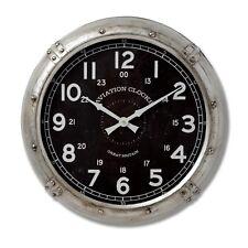Retro Style Aviation Wall Clock Aged Metal Silver Black Large Display Clocks