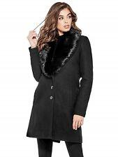GUESS Jacket Women's NEW Black Long Wool Blend Pea Coat Jacket Faux Fur Collar M