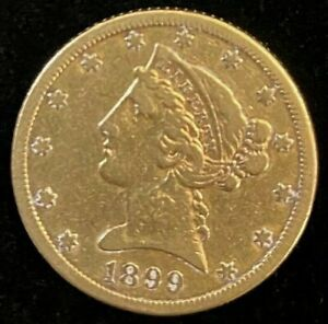 1899-S $5 Liberty Gold Coin.! Uncertified.! NR.!