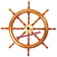 """Collectible Maritime Nautical Boat Wooden Ship Wheel 18""""inch Steering Wall Decor"""