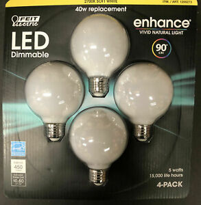 Feit Electric - 2700K 40w Replacement Soft White LED Dimmable 4 Pack-5 watts