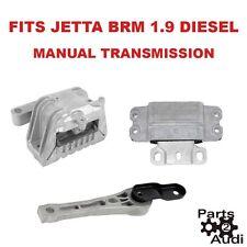 Motor Transmission Mount Mounts Set kit 3pcs VW Jetta BRM Eng 1.9 Diesel Manual
