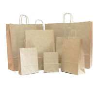 25 Luxury Brown Twisted Handle Kraft Paper Gift Carrier Bags Party Loot Weddings