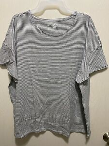 Terra & Sky Womens Top Size 4X 28W-30W Striped Short Sleeve Relaxed Fit Crew Tee