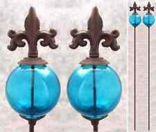 2 FLEUR-DE-LIS & BLUE GLASS GLOBE Cast Iron GARDEN STAKES Yard Art Garden Decor