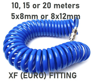 Coiled air line compressor hose 10 15 20m 5x8mm 8x12mm EURO QUICK CONNECTOR