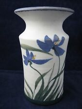 Steinman Studio Art Pottery Vase Hand Painted Blue Green Floral Signed 7 3/4in