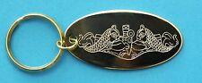 Solid Brass Engraved Submarine Dolphin Keychain
