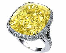 AGS Certified 14K White Gold Cocktail Party 18.Ct Yellow Cushion Round Halo Ring