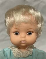 "Uneeda New Born Yummy 6 1/2"" Vinyl Baby Doll All Original Platinum Hair Palm Sz."