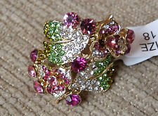 Vintage Flowers and Leaves Gold plated Pink Green Crystals Ring Size 8