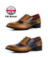 Mens Faux Leather Brogue Comfort Lace Up Smart Formal Evening Wedding Shoes UK