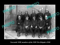 OLD LARGE HISTORIC PHOTO OF NEWCASTLE NSW, THE NSW FIRE BRIGADE CREW c1930