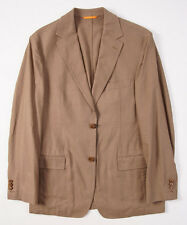 NWT $550 HUGO BOSS Cocoa Brown Cotton-Linen Sport Coat Blazer 40 R Dual Vents
