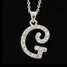 Initial G Necklace Chain Clear Stone Crystal Rhinestone Silver Tone Pendant NEW