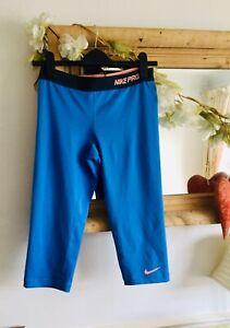 Nike Pro DRI FIT Aqua Blue 3/4 length yoga gym dance running pants leggings sz M