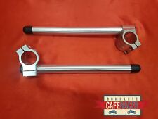 CAFE RACER 43mm CLIP ON HANDLE BARS IN SILVER