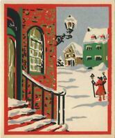 VINTAGE CHRISTMAS FOLK ART RED HOUSE SNOW GOLD SILVER SILK SCREEN GREETING CARD