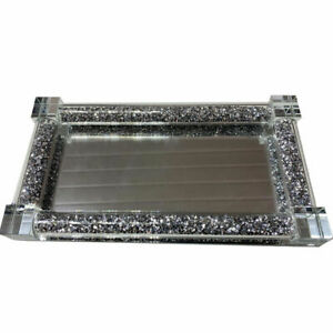 New Small Silver Crushed Crystal Diamond Tray For Salt And Pepper Shakers