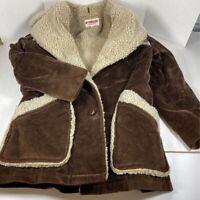 Mc Gregor Mens Jacket Brown Button Faux Fur Lined Shawl Collar Vintage Long 42