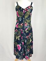 Joe Browns Blue & Pink Tropical Floral button Down Strappy Sun Dress UK Size 10