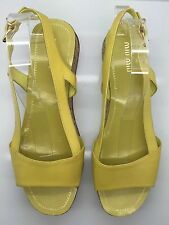 MIU MIU Yellow Patent Leather Cork Platform Heels Sandals 39.5 9M Italy NEW!!!