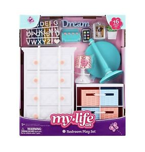 My Life As Bedroom Play Set - 16 Piece Doll Set - Working Lamp! - NEW