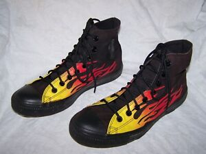Converse All Star Chuck Taylor Black with Flames High Tops Men's 9 Women's 11
