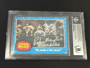 PETER MAYHEW CHEWBACCA STAR WARS TOPPS AUTOGRAPHED AUTO CARD SIGNED BECKETT BAS