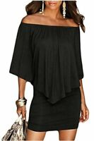 Sidefeel Women Off Shoulder Ruffles Clubwear Mini Dress, Black, Size Medium EREe