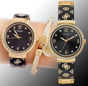 GUESS Watch Women's Watch GW0252L2 Motif Bangle Stainless Steel IP Gold New