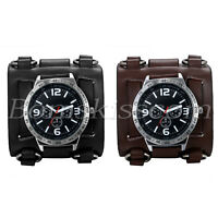 Men's Wide Leather Strap Buckle Sport Quartz Decoration Wrist Watch Cuff Bangle