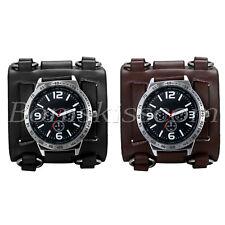 Men's Wide Leather Strap Buckle Sport Quartz Decoration Wrist Watch Cuff Bangle