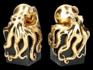 Buchstützen Kraken - goldfarben - Fantasy Oktupus Bücherhalter Deko