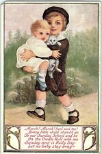 Postcard IN Salamonia Rally Day Little Boy Baby Cat 1915 Q4