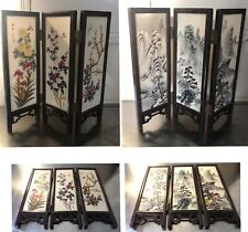 Oriental Ceramic Double Sided Folding Screen 3 Panels