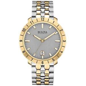 Bulova Men's Accutron II Moonview Quartz Grey Dial Two-Tone 42mm Watch 98B216