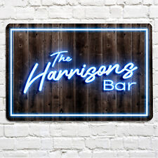 Personalised Bar Sign - home bar, family name, A4 Pub sign, blue neon print